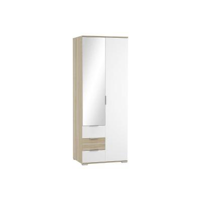 Шкаф платяной двухстворчатый Терра ШК-822 с ящиками Белый глянец/Дуб сонома