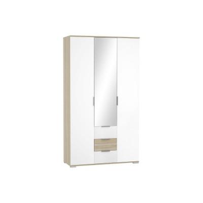 Шкаф трехстворчатый Терра ШК-823 с ящиками Белый глянец/Дуб сонома